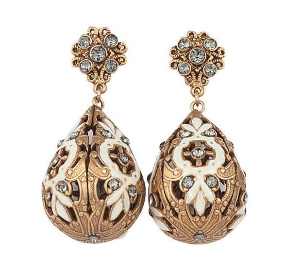 Catherine Popesco Crystal Post French Enamel 3D Teardrop Earrings