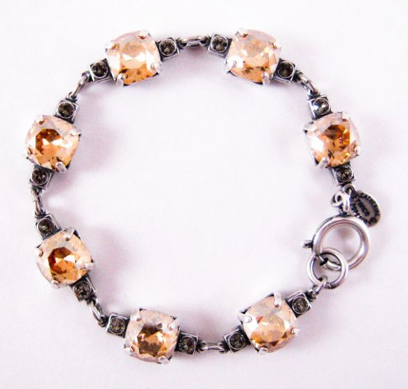 Medium Stone Crystal Bracelet - Champagne and Silver