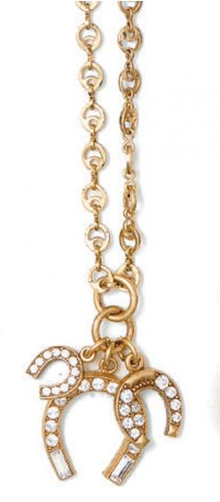 Catherine Popesco Gold & Crystal Triple Horseshoe Necklace