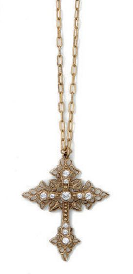 La Vie Parisienne Gold Filigree Crystal Cross Necklace