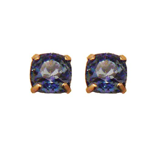 Stud or Post Medium Stone Crystal Earrings - Midnight Blue and Gold