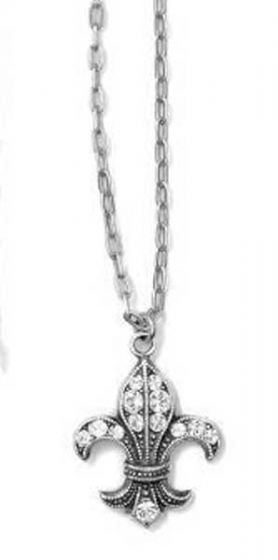 Catherine Popesco Fleur-de-lis Crystal Silver Necklace