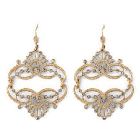 Catherine Popesco Mirrored Tiara BLACK DIAMOND Gold Earrings