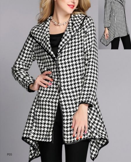 Black & White Houndstooth Sidetail Jacket by Jerry T Fashion
