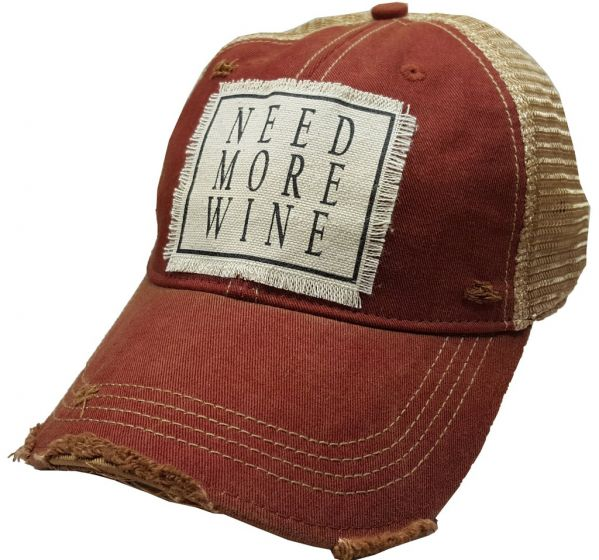 """Need More Wine"" Women's Trucker Baseball Cap - Distressed Hat"