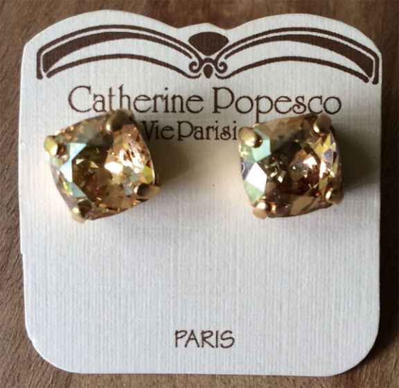 Stud or Post Medium Stone Crystal Earrings - Champagne and Gold