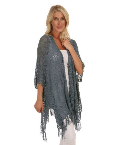Lost River Popcorn Knit Sequoia Cover-Up Fringed Kimono