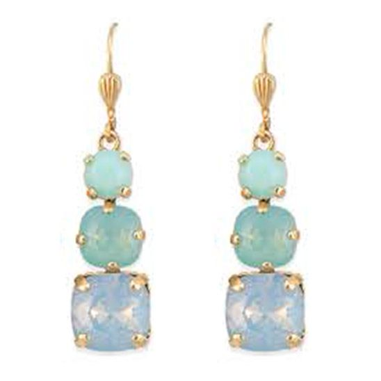 Catherine Popesco 3 Stone Crystal Earrings - Assorted Colors