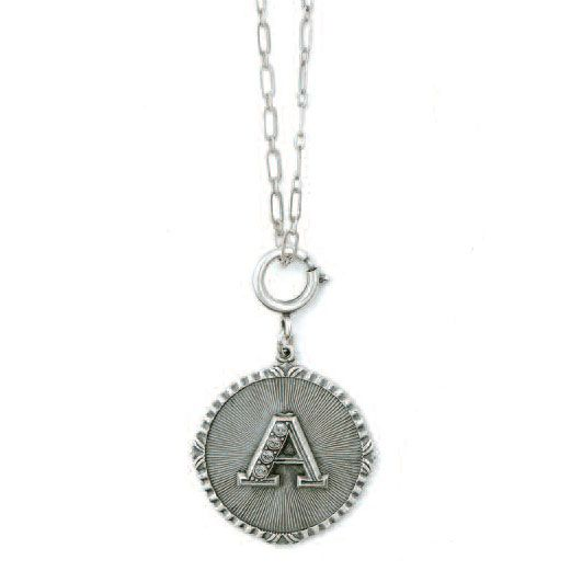 Catherine Popesco Initial Necklace - Silver with Crystal Monogram
