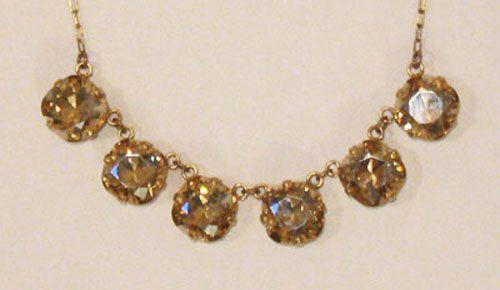 Large Stone Six Crystal Necklace - Champagne & Gold