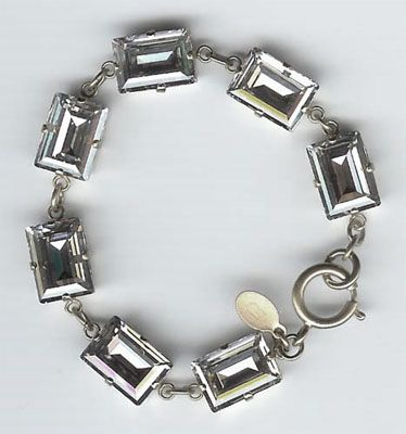 Catherine Popesco Shade and Silver Rectangle Crystal Bracelet