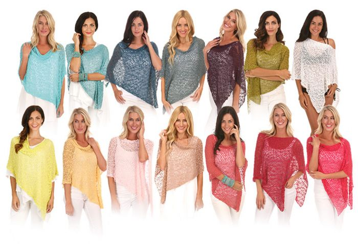 Free Shipping! Lost River Popcorn Knit Ponchos - 50 Colors to Choose From!