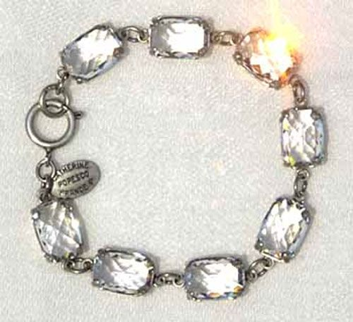 Catherine Popesco Pillow Cut Crystal Bracelet - Clear and Silver