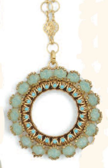 Catherine Popesaco Pacific Opal and Gold Round Necklace