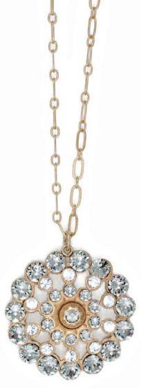 Catherine Popesco Crystal and Black Diamond Medallion Pendant Necklace