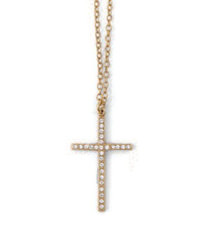 Catherine Popesco Gold or Silver Clear Crystal Cross Necklace
