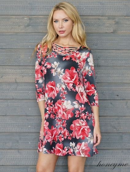 Honeyme Clothing USA Red & Charcoal Floral Swing Dress with Criss Cross Top
