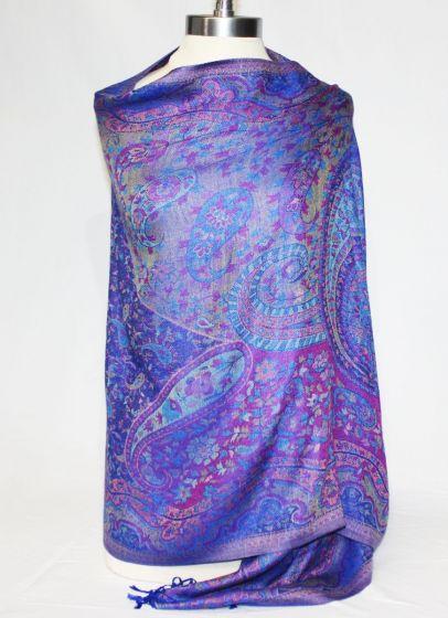 Gorgeous! Silk & Pashmina Paisley Shawl Wrap by Rapti Fashion - Purple
