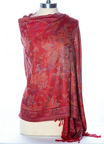 Gorgeous! Silk & Pashmina Floral Shawl Wrap by Rapti Fashion - Red