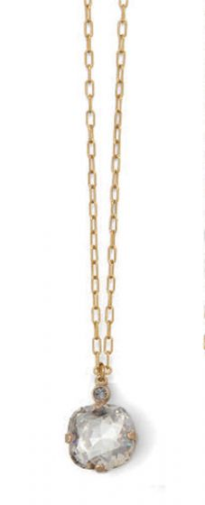 Catherine Popesco Large Stone Crystal Necklace  - Shade and Gold