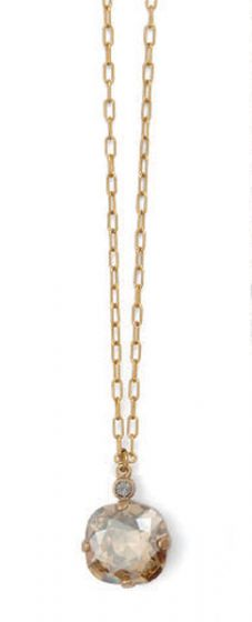 Catherine Popesco Large Stone Crystal Necklace  - Champagne and Gold