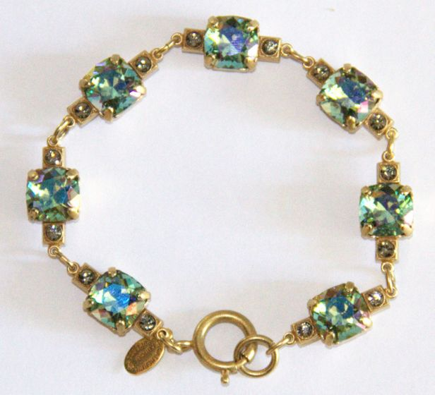 Medium Stone Crystal Bracelet - Ocean Green and Gold