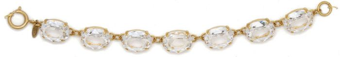 Catherine Popesco Oval Crystal Bracelet - Clear and Gold