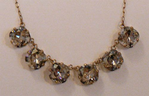 Large Stone Six Crystal Necklace - Shade & Gold