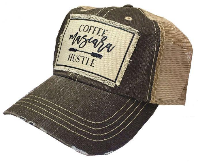 """Coffee Mascara Hustle"" Women's Trucker Baseball Cap Vintage Distressed Hat"