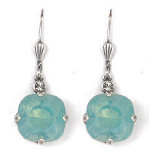 Catherine Popesco Large Stone Crystal Earrings - Pacific Opal and Silver