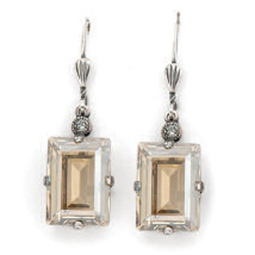 Catherine Popesco Champagne and Silver Rectangle Earrings