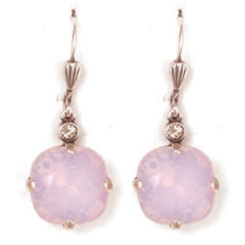 Catherine Popesco Large Stone Crystal Earrings - Rosewater Pink and Silver