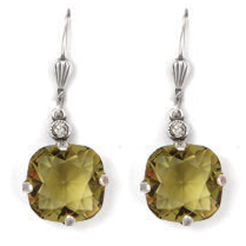 Catherine Popesco Large Stone Crystal Earrings - Khaki and Silver
