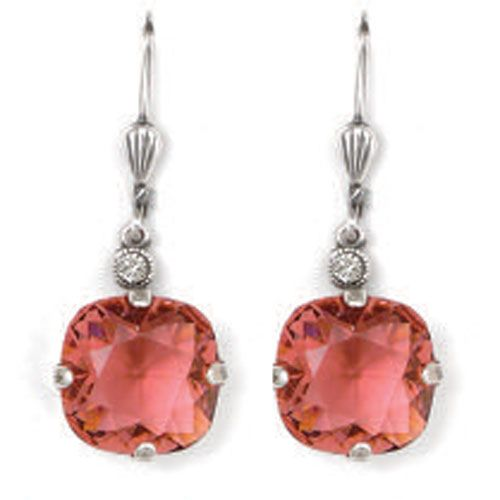 Catherine Popesco Large Stone Crystal Earrings - Coral and Silver