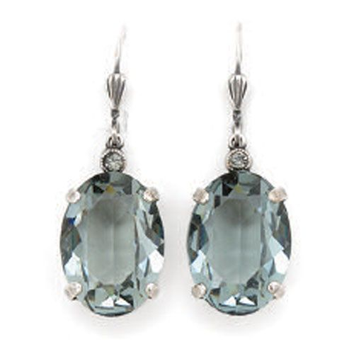 Oval Crystal Earrings - Indian Sapphire and Silver