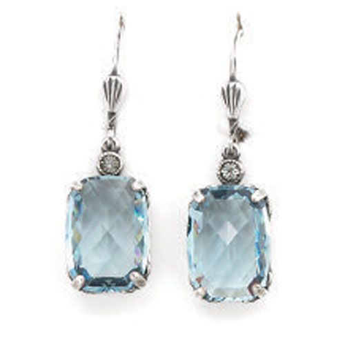 Pillow Cut Crystal Earrings - Aqua and Silver