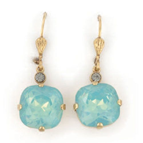 Large Stone Crystal Earrings - Pacific Opal and Gold