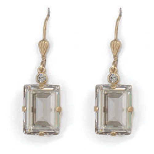 Catherine Popesco Rectangle Crystal Earrings - Shade and Gold