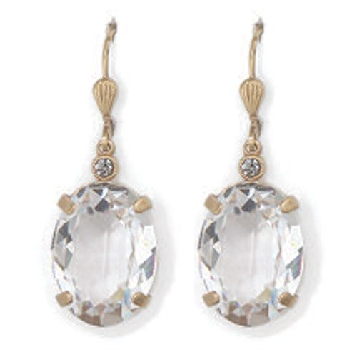 Catherine Popesco Oval Clear Crystal and Gold Earrings