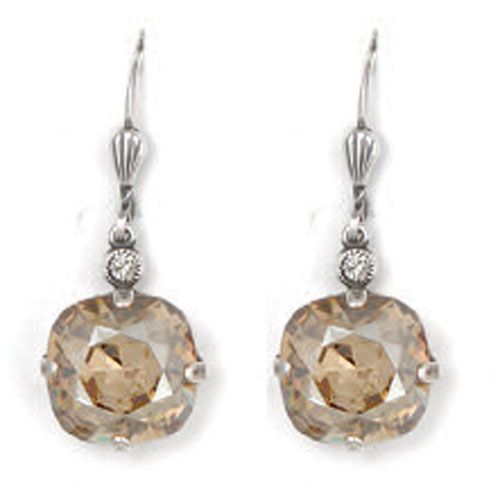 Large Stone Crystal Earrings - Champagne and Silver