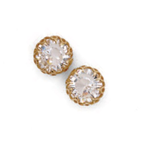 Catherine Popesco Gold Crystal Crown Setting Studs/Post Earrings