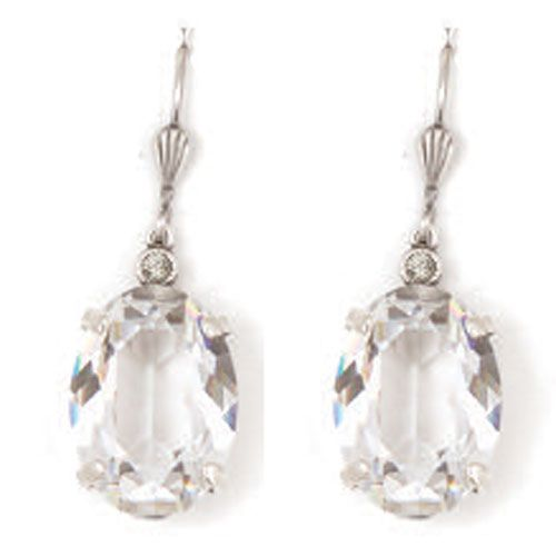 Catherine Popesco Oval Crystal Earrings - Diamond and Silver