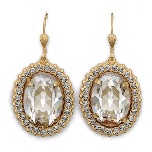 Catherine Popesco Oval Crystal Frame Earrings - Shade