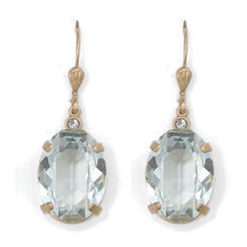 Oval Ice and Gold Crystal Earrings