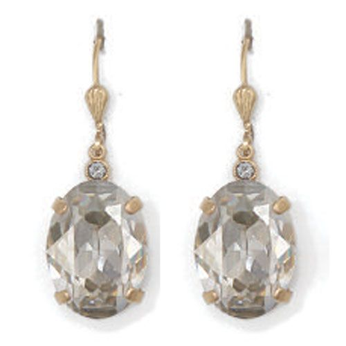 Catherine Popesco Oval Shade and Gold Crystal Earrings