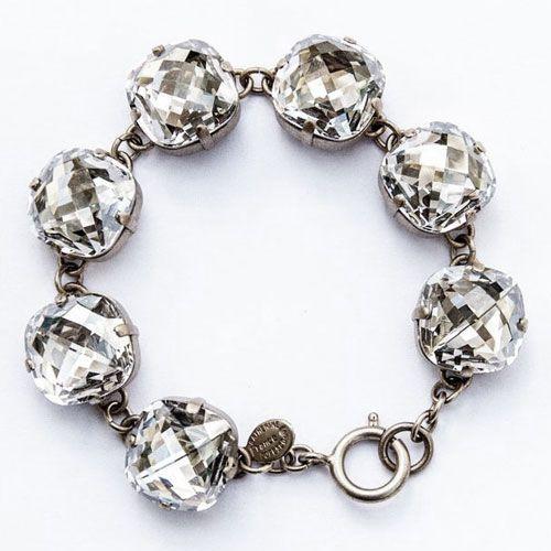 Catherine Popesco Ex-Large Stone Crystal Bracelet - Shade and Silver