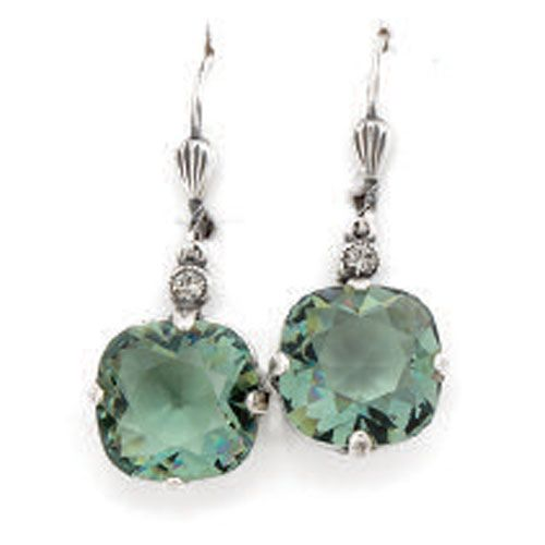 Catherine Popesco Large Stone Crystal Earrings - Marine and Silver