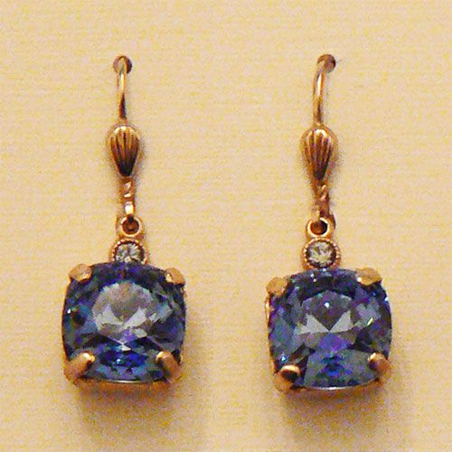 Catherine Popesco Medium Stone Crystal Earrings - Midnight Blue and Gold