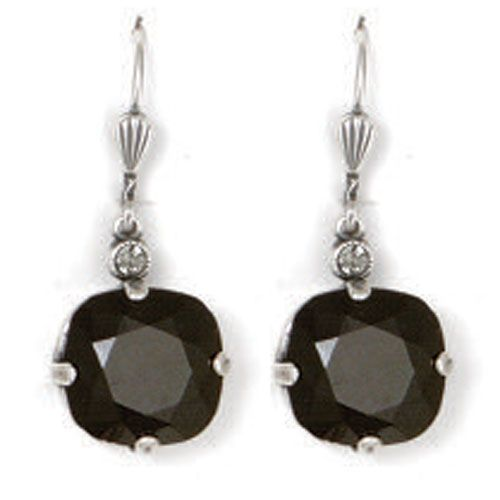 Catherine Popesco Large Stone Crystal Earrings - Jet Black and Silver