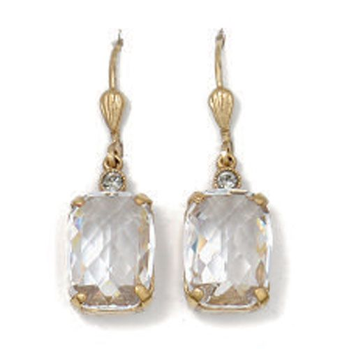 Pillow Cut Crystal Earrings - Clear and Gold